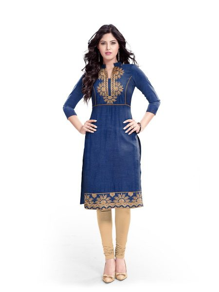 BEBO 2 DENIM LOOK COTTON KURTI WITH EMB WORK MANUFACTURER