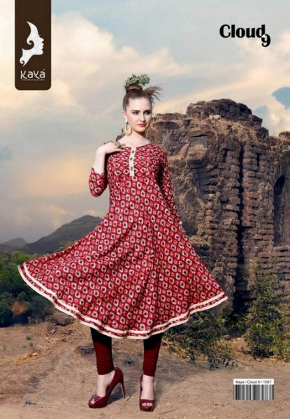 KAYA CLOUD 9 RAYON PRINT ANARKALI KURTIS WHOLESALE SUPPLIER