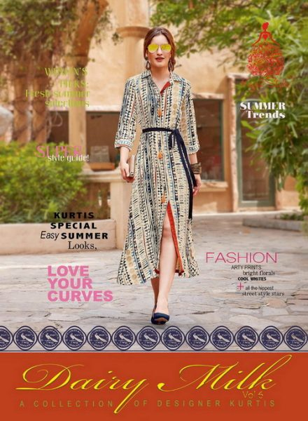 DAIRY MILK VOL 6 RAYON LONG KURTIS WHOLESALE SUPPLIER
