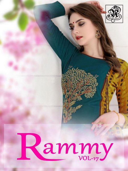 RAMMY VOL 17 CHANDERI SILK KURTI WITH WORK WHOLESALER