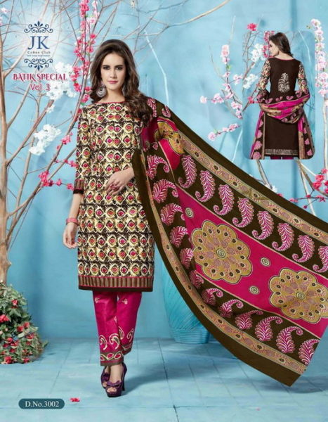 JK BATIK VOL 3 UNSTICHED BATIK PRINT COTTON DRESS MATERIALS WHOLESALE