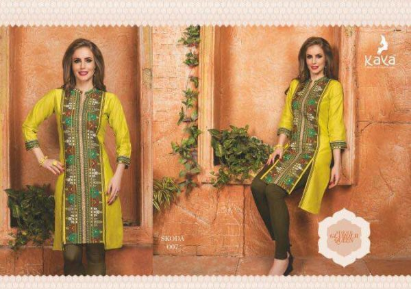 COTTON LINEN DESIGNER KURTIS WITH EMB WORK – SKODA – KURTIS WHOLESALER