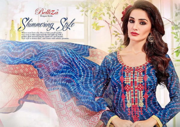 BELLIZA DENIM PRINT KARACHI UNSTICHED SALWARSUITS WHOLESALER