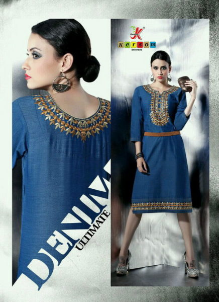 DENIM LOOK FLEX COTTON KURTI MANUFACTURER – BLUE BERRY VOL 1 @ RS 400