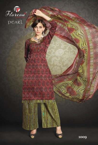KARACHI PRINT UNSTICHED SALWARSUITS WITH EMBROIDERY WORK – PEARL