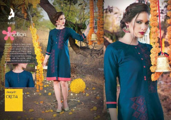 KAYA CRETA REYON WORK DESIGNER KURTIS CATALOGUE WHOLESALE RATE