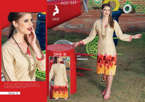 DIVA 5 RAYON PRINTED FORMAL OFFICE WEAR KURTI WHOLESALER