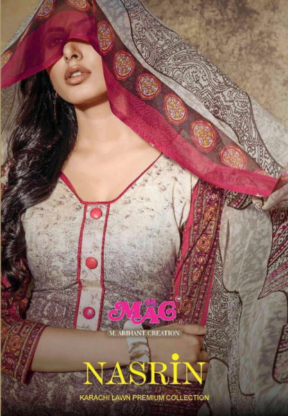 ELEGANT KARACHI PRINT UNSTICHED DRESS MATERIALS- NASREEN