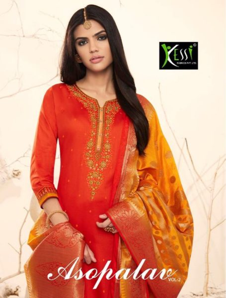 DESIGNER UNSTICHED DRESS MATERIALS PURE JAM SILK WITH WORK – ASOPALAV VOL 2