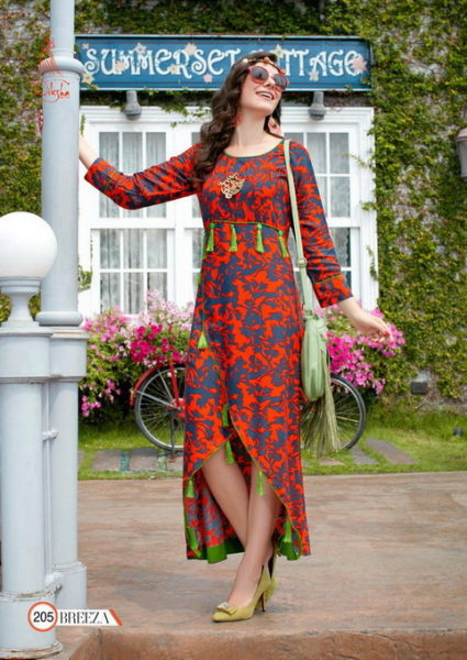 LONG FROCK STYLE RAYON KURTI BREEZA 2 WHOLESALER