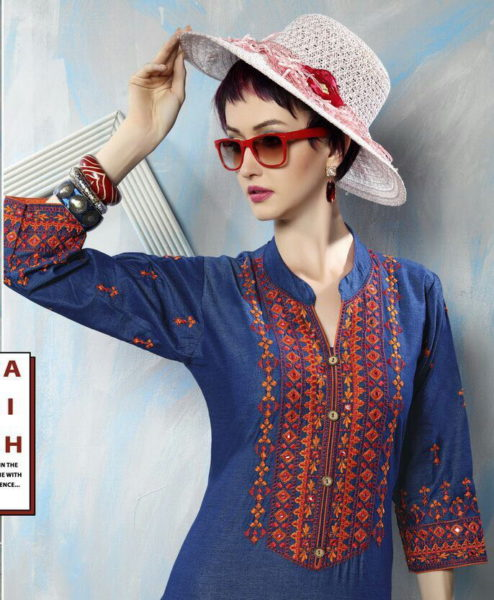 DENIM LOOK FLEX COTTON KURTI MANUFACTURER – BLUE BERRY VOL 2 @ RS 400