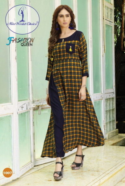 EXCLUSIVE LONG DESIGNER RAYON KURTIS – FASHION QUEEN @ RS 525