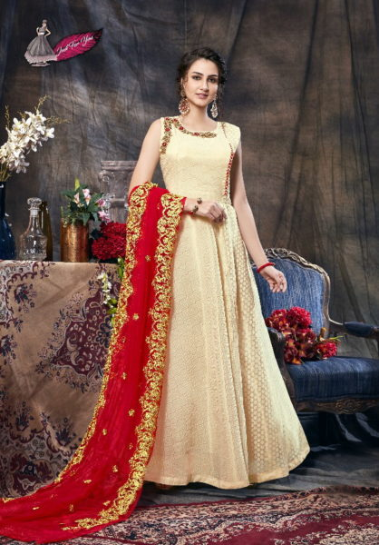 Hasini Designer Readymade silk Gown with Duppatta