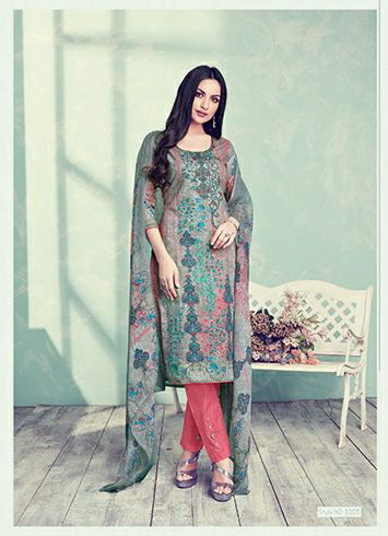 DESIGNER KARACHI PRINT DRESS MATERIAL WITH EMBROIDERY WORK – KALKI MAIRA