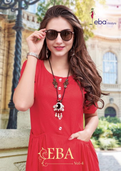 FROCK STYLE LONG RAYON KURTI WITH ACCESSORIES EBA
