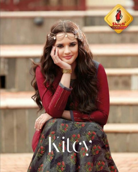 KITCY-DESIGNER RAYON PRINT GOWN KURTA WITH WORK
