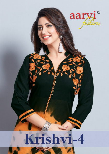 KRISHVI AARVI DESIGNER COTTON KURTIS WITH EMBROIDERY WORK @ RS 515