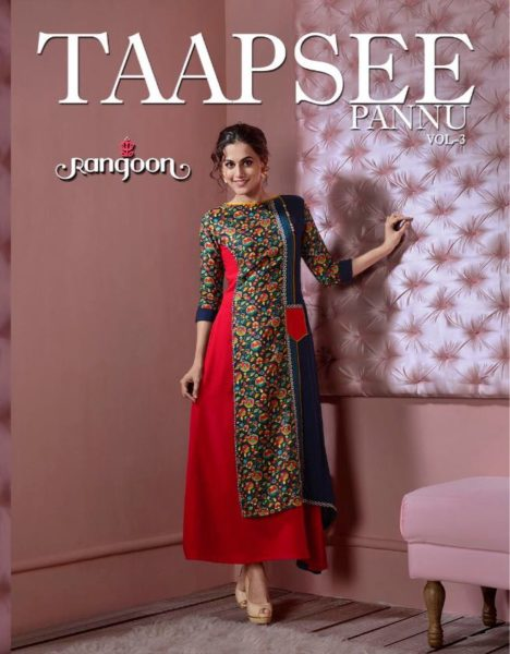 TAAPSEE PANNU 3 INDO WESTERN SILK & RAYON GOWN