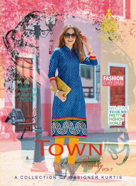 TOWN BEAUTY VOL 7 PRINTED COTTON KURTI WHOLESALER