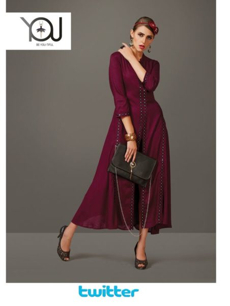 DESIGNER LONG RAYON KURTIS WITH WORK – TWITTER @ RS 599