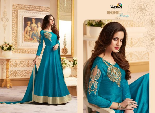 VARDAN DESIGNER LONG SILK GOWN WITH DUPPATTA