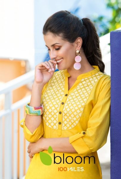 100 MILES KURTI BLOOM COTTON EMBROIDERY TOPS KURTIS