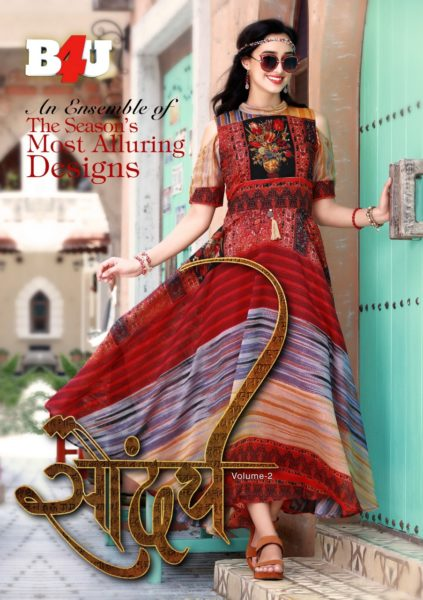B4U SAUNDARYA VOL 2 PARTY WEAR KURTIS COLLECTION WHOLESALE DISTRIBUTOR