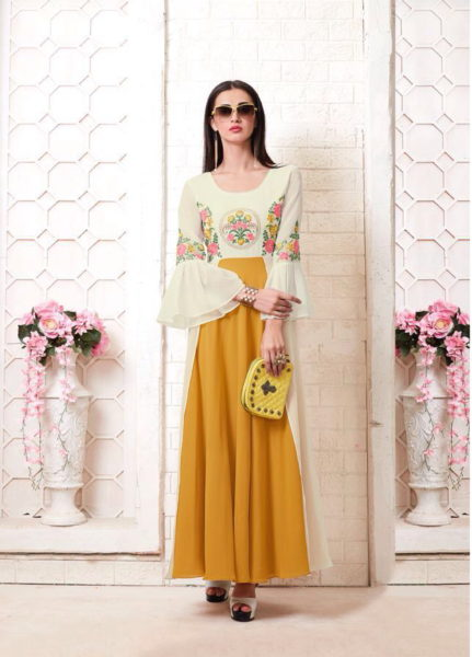 MEGHALI PRESENT TUMBIN GEORGETTE LONG KURTIS CATALOGUE AT WHOLESALE