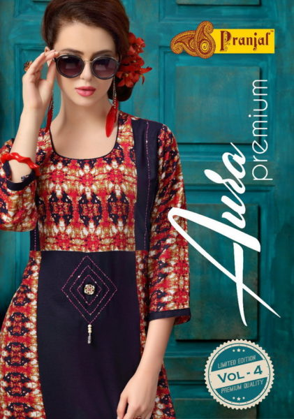 AURA PREMIUM 4 – COTTON PRINT & WORK KURTIS WHOLESALE MANUFACTURER