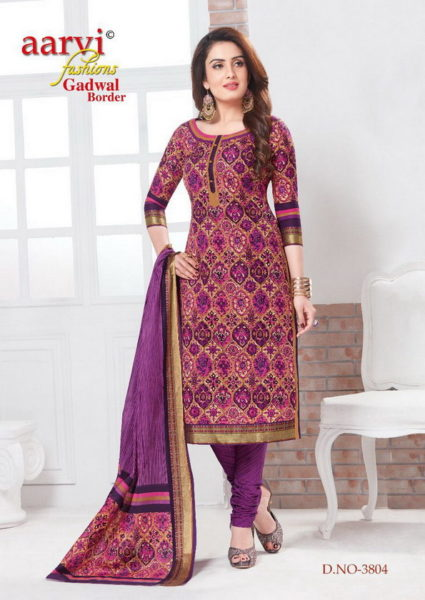 AARVI GHADWAL BORDER PREMIUM QUALITY COTTON PRINT DRESS MATERIAL WITH GHADWAL BORDER WHOLESALE