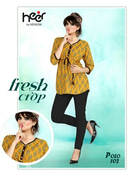 POLO BY KERSOM FANCY RAYON PRINTED TOPS KURTIS WHOLESALER @ RS 290
