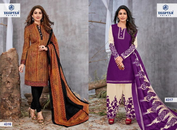 DEEPTEX MISS INDIA VOL 43 UNSTICHED COTTON PRINT SALWARSUITS WHOLESALER @ RS 310