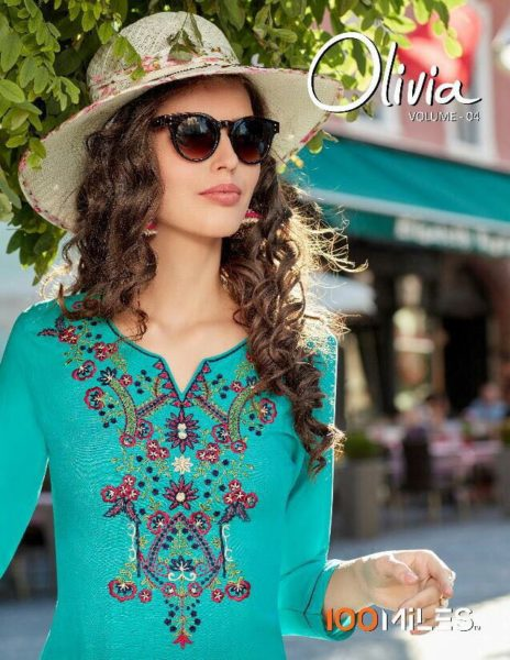 OLIVIA 4 RAYON EMBROIDERY KURTIS BY 100 MILES @ RS 450