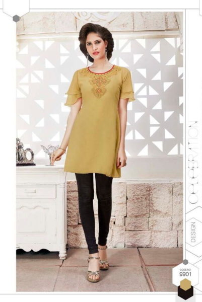 FANCY GEORGETTE SHORT TOP WITH KHATLI WORK KURTIS WHOLESALE MANUFACTURER @ RS 499