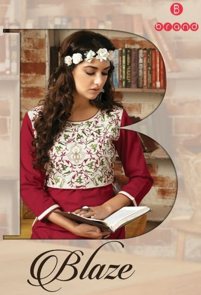 B BRAND LAUNCH BLAZE RAYON WORK KURTIS UNIQUE KURTI COLLECTION MANUFATURER @ RS 475