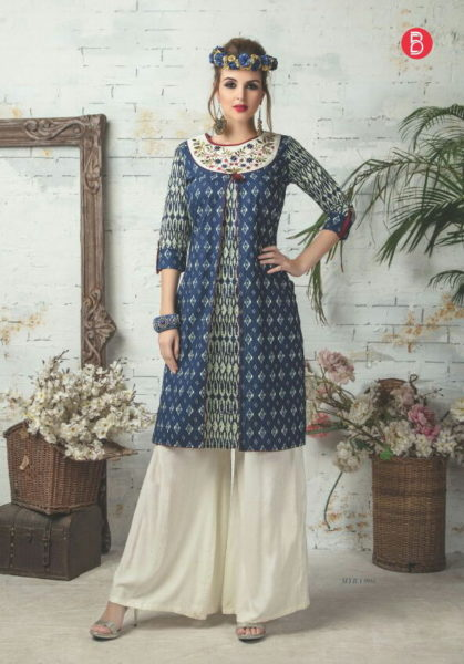 MYRA DESIGNER COTTON PRINT KURTIS WITH WORK WHOLESALE MANUFACTURER @ RS 545