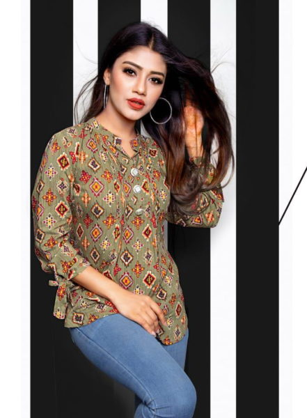 Rola Fancy Short Tops of Rayon print with 3/4th sleeves Manufacturer Wholesale Exporters