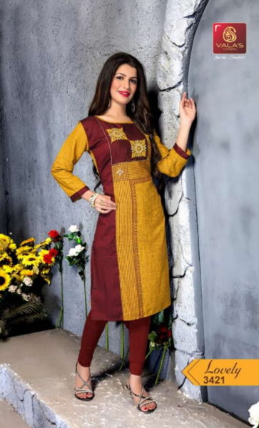 VALAS LOVELY RAYON SLUB FANCY KURTIS COLLECTION LOWEST WHOLESALE RATE @ RS 465