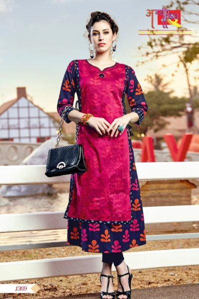 GLAMOUR WAVES DESIGNER MODAL SILK COTTON FANCY KURTIS WHOLESALE @ RS 575