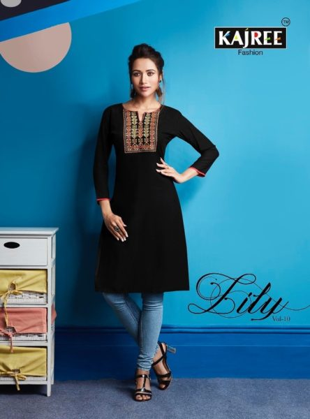 kajree fashion lily vol 10 rayon embroidery short Kurtis collection wholesale price