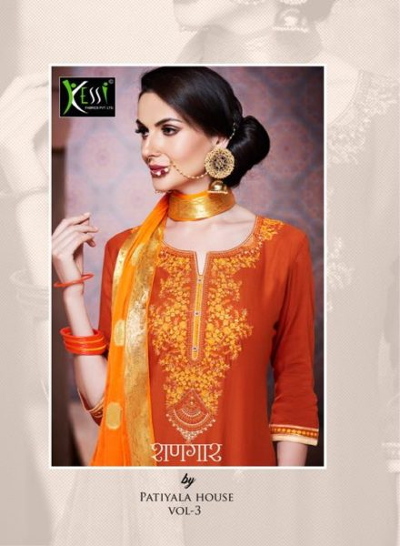SHANGAR BY PATIALA VOL 3 BY KESSI FABRICS JAM SILK COTTON SUITS WHOLESALE RATE @ RS 890
