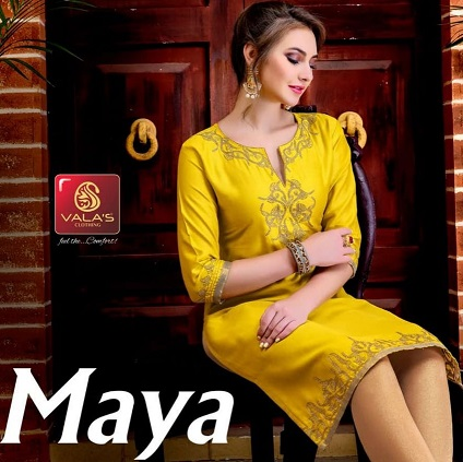 valas maya cotton satin work trendy look kurtis wholesaler