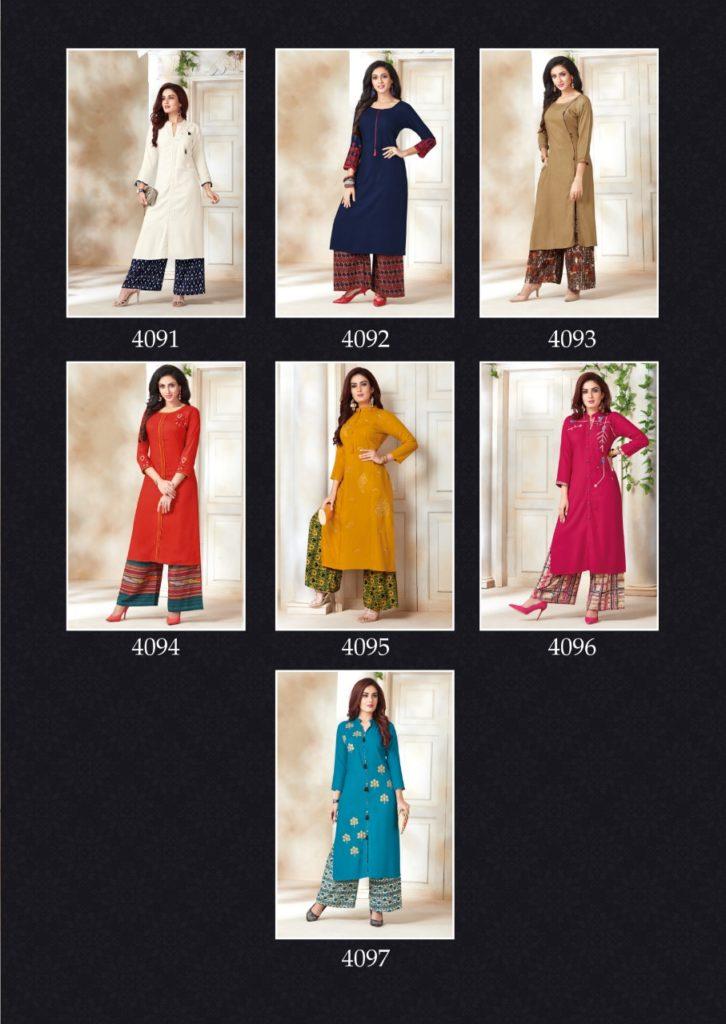 Aarvi Shweta Designer Kurtis with Plazzo Wholesale Kurtis Catalog