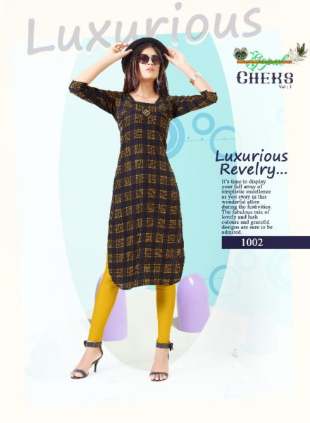 GOPAL CHECKS RAYON PRINT LONG STRAIGHT KURTIS MANUFACTURER