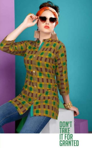 valas clothing angel rayon checks short top Kurtis collection wholesaler