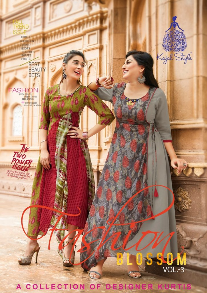 kajal style fashion blossom vol 3 Georgette Kurtis wholesalers