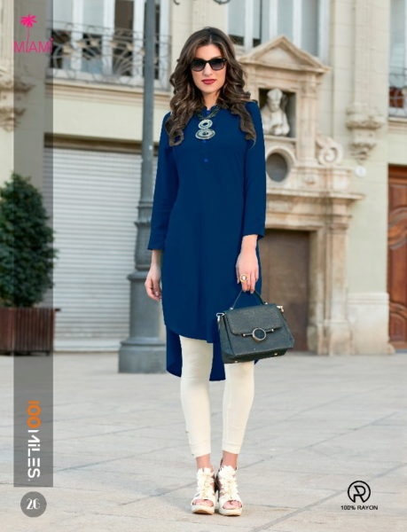 100 MILES MIAMI VOL 4 RAYON FORMAL KURTIS WHOLESALE SUPPLIER