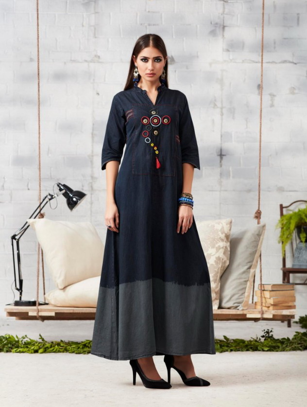 kajree fashion presents blue lee vol 2 denim long Kurtis wholesale price