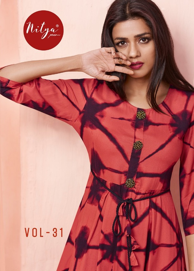 Lt present nitya vol 31 reyon cotton stylish long kurti supplier online dealer