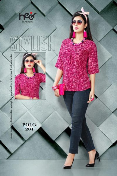 Polo vol 2 by Heer Kersom Rayon print Top Kurtis wholesale